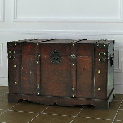 Wooden Storage Chest Large Unit Treasure Store Clothes Items Games Books Vintage