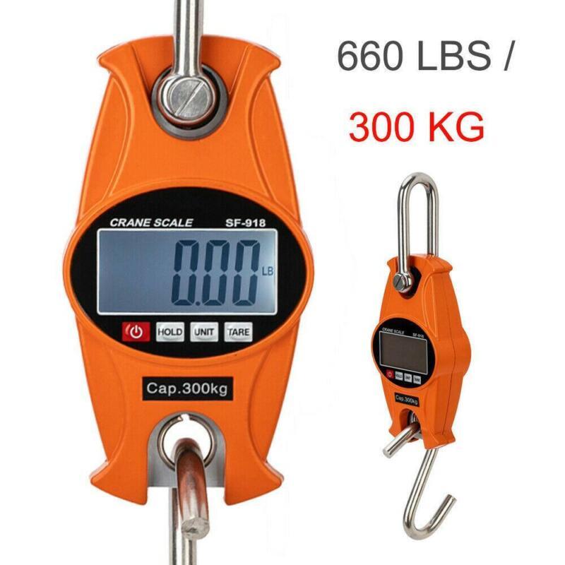 600 LBS / 300 KG x 50g Digital Hanging Scale Industrial Crane Scale Black