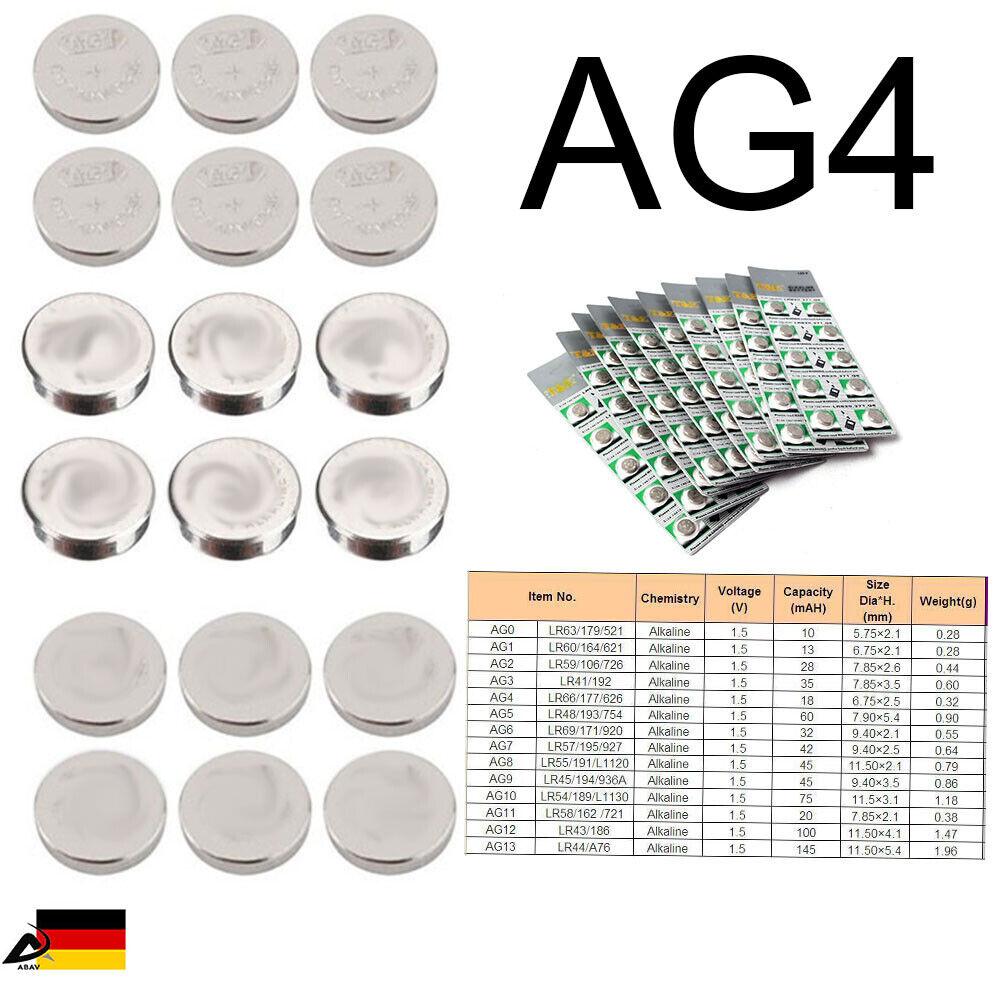 10er Blister AG4 LR626 LR66 177 626 Uhr Batterien Knopfzellen Alkaline 377 / 376