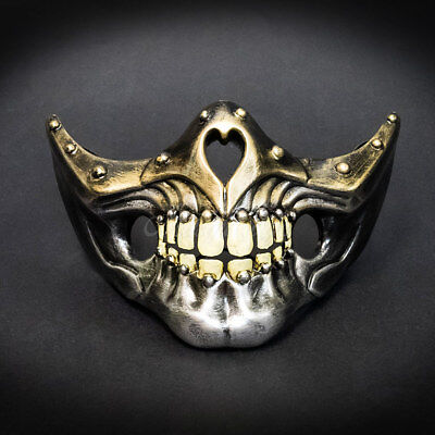 Masquerade Mask New Steampunk Gold Silver Jaw Bone Face Halloween Costume Party - Jaw Mask