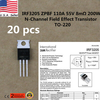 20x Irf3205 Mosfet N-channel 55v110a To-220 Hexfet Power Transistor Irf3205zpbf