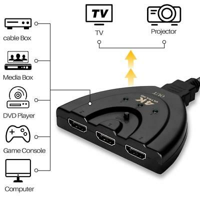 Full HD HDMI Splitter 3 Port Hub Repeater Amplifier v1.4 3D 1080p 4K X 2K Ultra