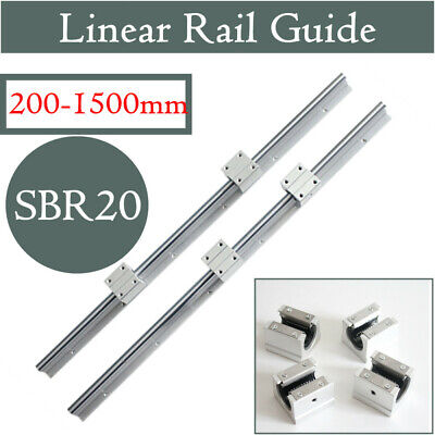 2x Sbr20 Slide Guide Shaft 200-2000mm Linear Rail Rod Sbr20uu Block Cnc