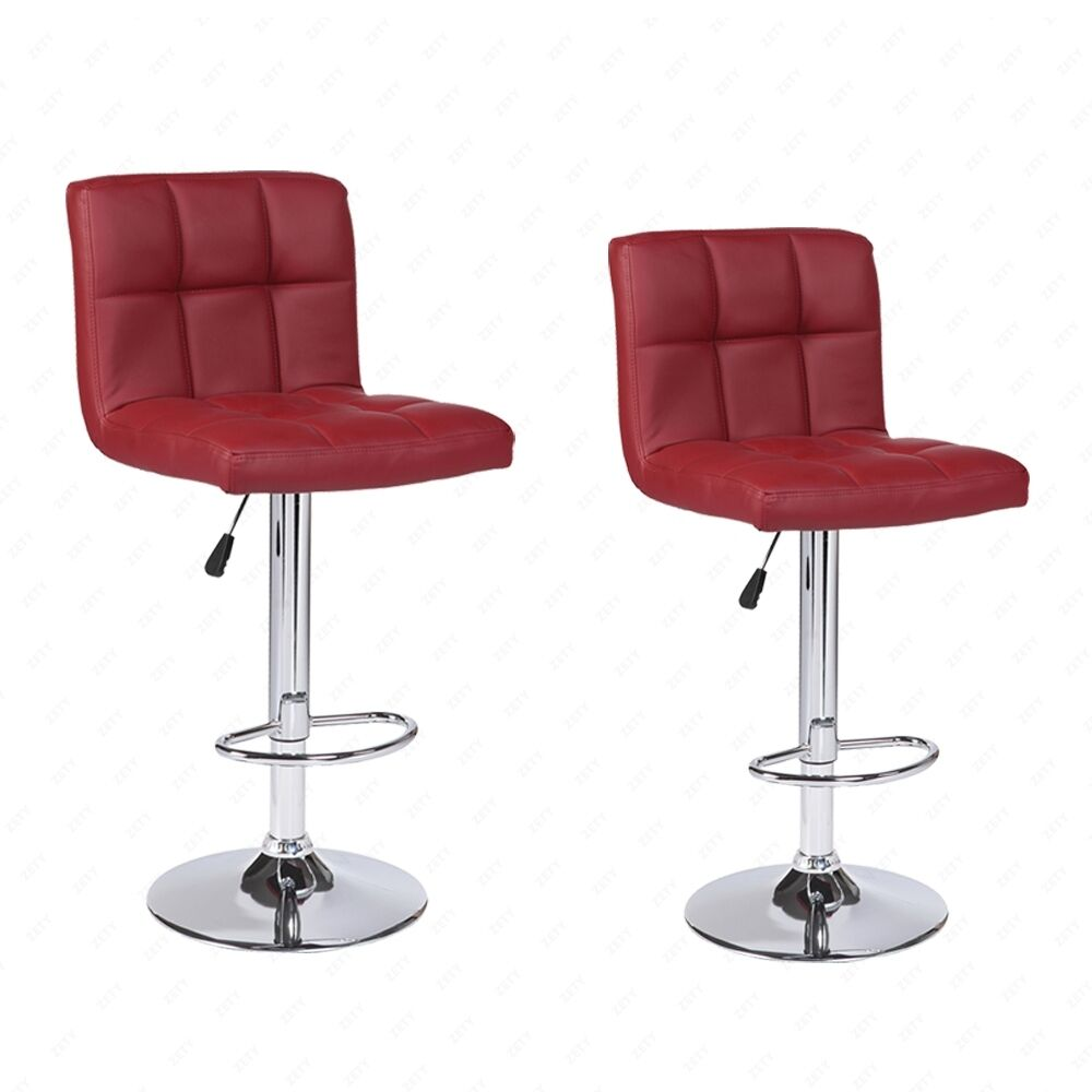 Modern Design Set Of 2 Bar Stools Adjustable Leather