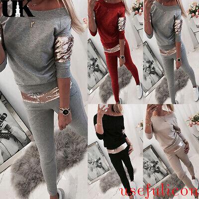 2Pcs Womens Sequin Tracksuit Hoodies Pants Set Lounge Wear Sport Suit Size 10-18