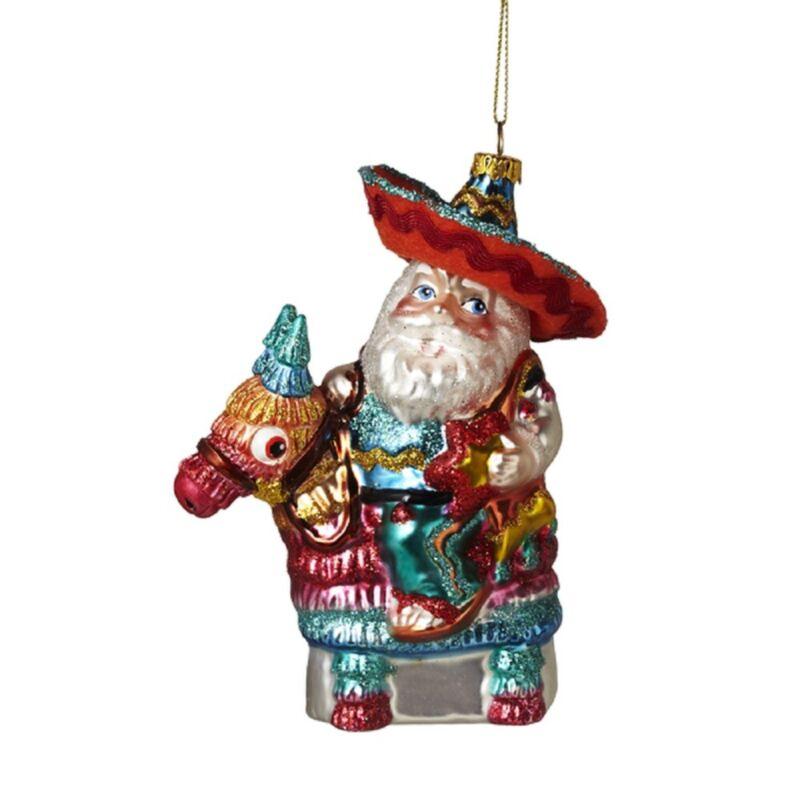 Santa on Pinata Glass Christmas Tree Ornament New