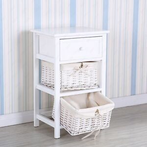 White 2 Layer End Side Bedside Table Nightstand Organizer With Wicker  Storage