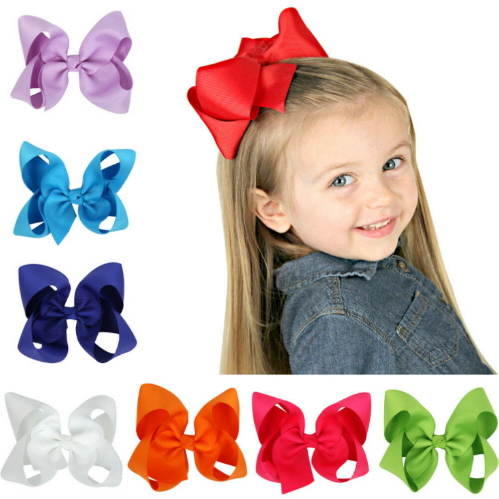 12Pcs 4.5″ Baby Girls Huge Grosgrain Ribbon Boutique Hair Bows Kids Hair Clip Baby
