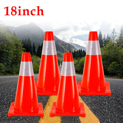 4pack 18 Traffic Parking Cones Construction W Reflective Collar Safety Pvc