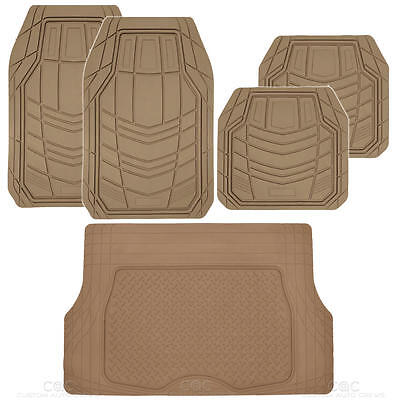Tech Rubber - 5pc All Weather Car Floor Mats & Cargo Set- Beige RIGID Tech Rubber MotorTrend