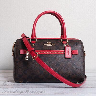 NWT Coach F83607 Rowan Satchel Bag in Signature Canvas Brown Red -