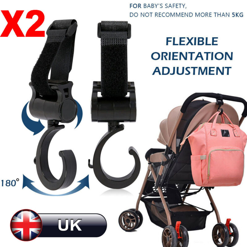 5x UK Seller Universal Pushchair Clip Pram Buggy Shopping Bag Holder Hooks 1x
