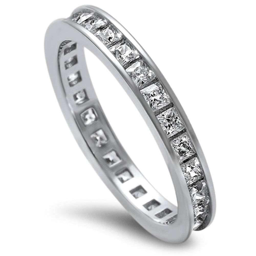 Wedding Band Oxford: Sterling Silver 925 Princess Cut Channel Set CZ Eternity