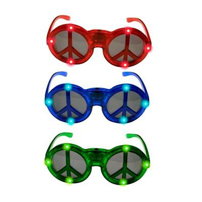Peace Sign Glasses (LED Flashing Light Up Peace Sign Hippie Party Favors Halloween Glasses)