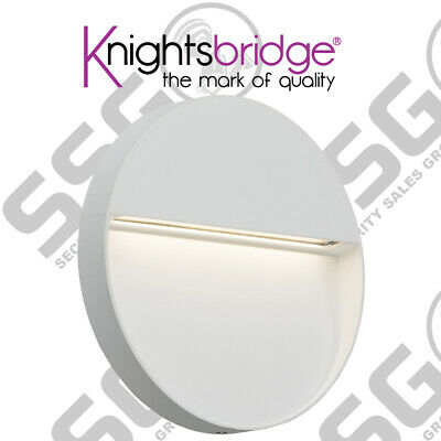 Knightsbridge 230V IP44 4W LED Round Wall Guide light - White Outdoor Garden