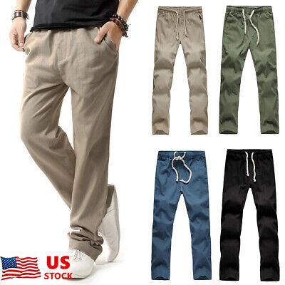 Mens Linen Cotton Pants Cropped Pants Long Slacks Harem Casual Beach Trousers