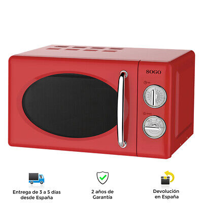 Microondas Estilo Retro Vintage de 700W, Función Descongelación, 20L, Rojo