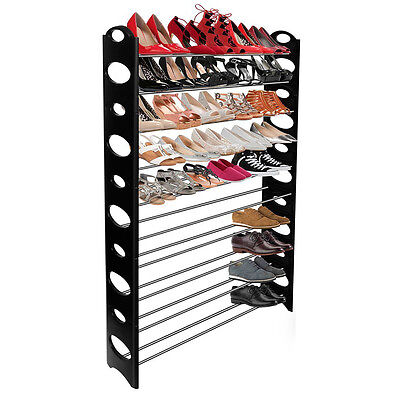 Sunbeam Free Standing 50 Pair 10 Tier Metal Shoe Rack with Circle Design Black Home & Garden