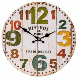 Wall Clock 12 Colorful Wooden Vintage Style Country Shabby Chic Farmhouse