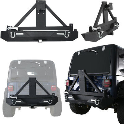 Jeep Bumper Tire Carrier - Textured Black Rear  Bumper w/ Tire Carrier & D-rings for Jeep Wrangler TJ 97-06