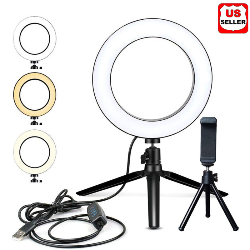 "6"" LED Ring Fill Light Studio Photo Video USB Dimmable Lamp Selfie Portable US"