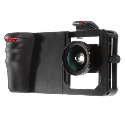 Universal Cellphone Camera Cage Bracket Hand Grip Holder + Wide Angle Macro Lens