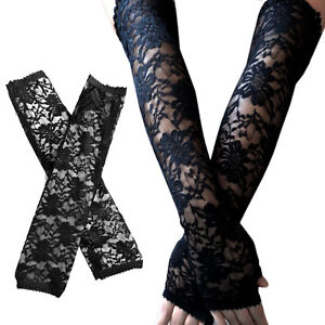 Ladies Pairs of Long Black Lace Fingerless Gloves Costume Bridal Bride Wedding