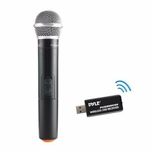 Easy Plug and Play PYLE PUSBMIC50 Handheld Dynamic UHF Wireless Microphone and USB Receiver System