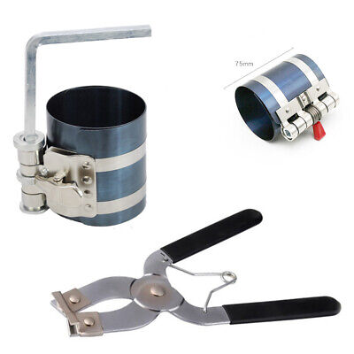 Ring Installation Tools - 2Pcs Ratchet Style Piston Ring Compressor and Piston Ring Installer Pliers Tool