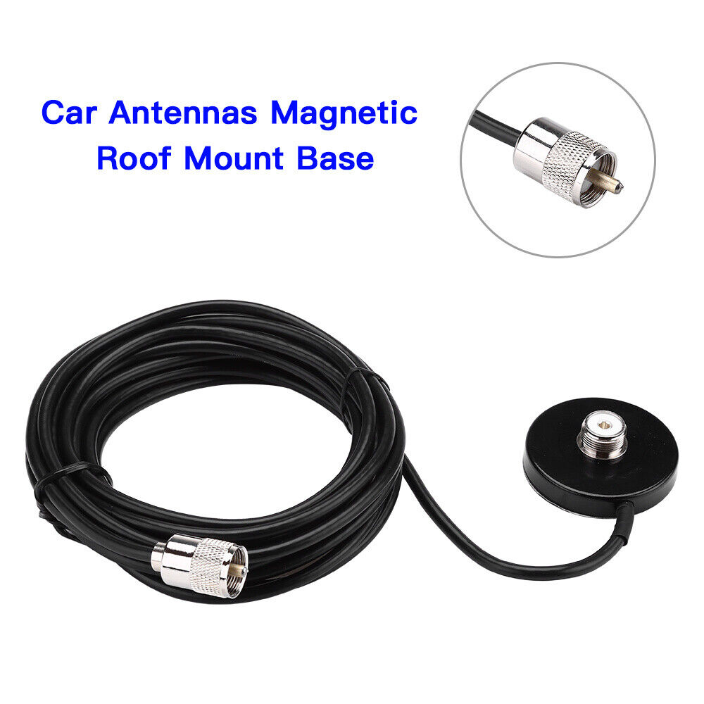 VHF//UHF Dual Band Mobile Car Radio Antenna Magnetic Roof Mount Base UHF 5m Cable