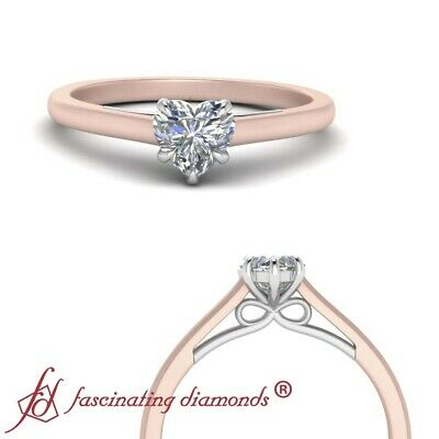 3/4 Carat Heart Shape Diamond 2 Tone Bow Design Womens Solitaire Engagement Ring