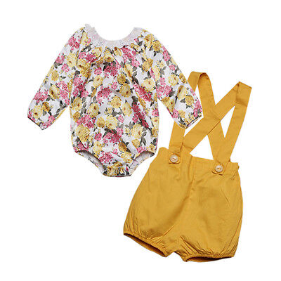 Popular Girl Outfits (Popular Toddler Kids Baby Girls Lace Floral Romper Tops+Shorts Pants Outfits)