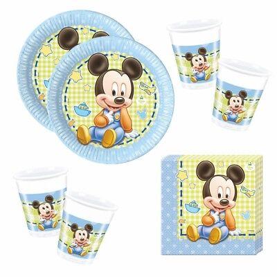 Micky Maus - Set Teller Becher Servietten Partygeschirr Baby Mickey Mouse