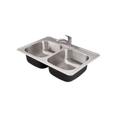 New American Standard Colony Pro Drop-in Stainless Steel 33 in. Double Bowl Prep American Standard Double Bowl Sink