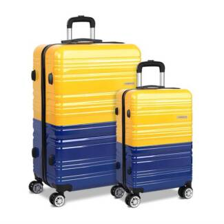 Set of 2 Premium Hard Shell Travel Luggage with TSA Lock Yellow a