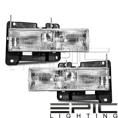 Left Right Sides Pair Head Lamps for 1990-2000 CHEVROLET SILVERADO C1500 K1500