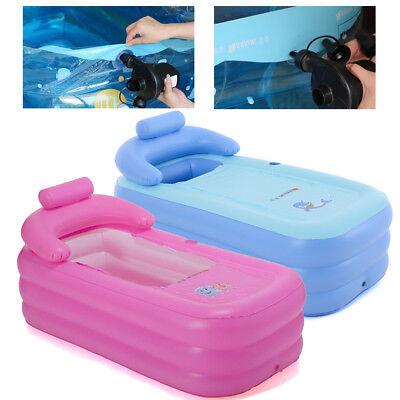 Portable Blowup Adult SPA Folding Travel Warm Inflatable Soa Bath Tub Blue/Pink](Adult Inflatable Bath)