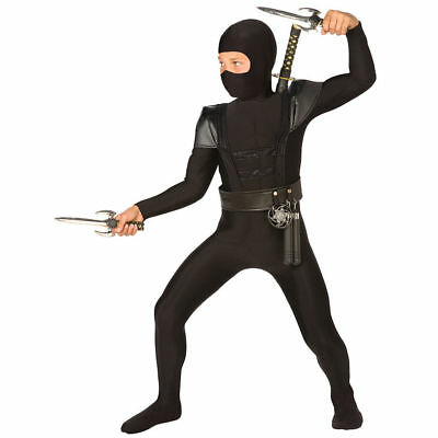 BOYS BLACK NINJA  BODYSUIT MARTIAL ARTS FANCY DRESS BOOK WEEK SIZE 4-12 YEARS (Martial Arts Ninja Kostüm)