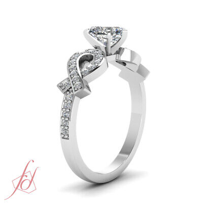 .70 Ct Womens White Gold Engagement Rings Pave Set With Heart Shape Diamond GIA 2