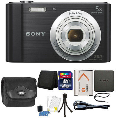 $105.95 - Sony Cyber-shot DSC-W800 20.1MP Digital Camera 5x Zoom Black + 16GB Accessories