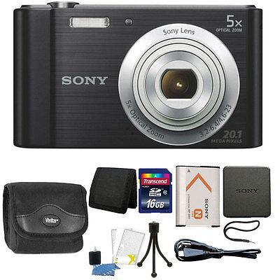 Sony Cyber-shot DSC-W800 20.1MP Digital Camera 5x Zoom Black