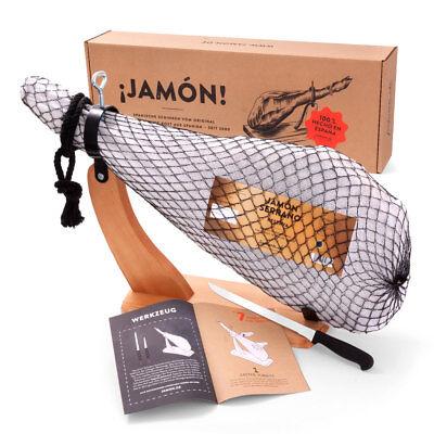 Jamon-Box Nr. 2 – Serranoschinken im Geschenkkarton mit Schinkenständer & Messer