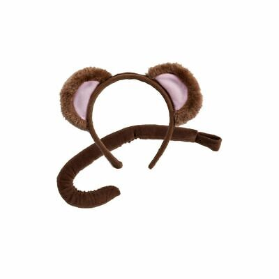 Monkey Tail And Ears Costume (Monkey Ears Headband And Tail Set Adult And Child Fancy Dress Animal Accessory)