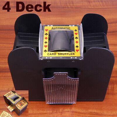 Black 4 Deck Automatic Card Shuffler Poker Cards Shuffling Machine Casino Play