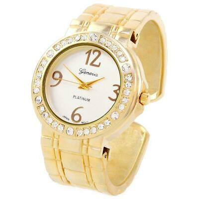 Gold Metal Brushed Finish Crystal Bezel Large Face Women's Bangle Cuff Watch Ladies Brushed Metal