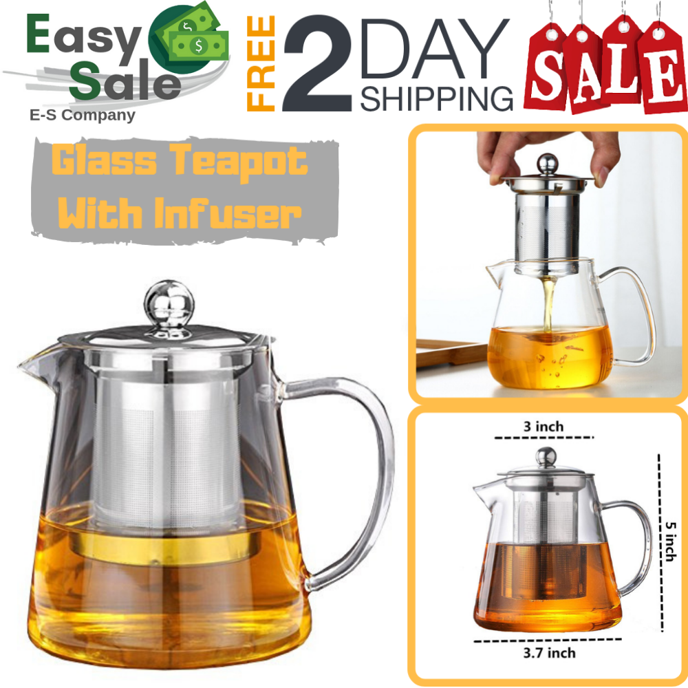 glass teapot with infuser stovetop safe stainl