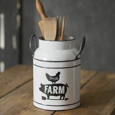 New Shabby Farmhouse Chic Up to date FARM PIG ROOSTER White Utensil Holder Bucket