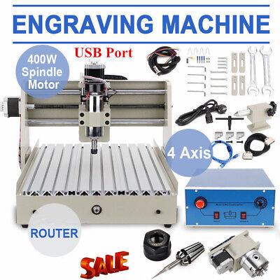 400w Usb 4 Axis Cnc3040 Router Engraver Desktop Engraving Cutter Machine T-screw