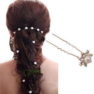 20 Pcs Women Hair Comb Pin Bridal Wedding Crystal Faux Pearl Diamante White Pins