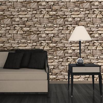 Dry Stone Wall Sand Wallpaper 3D Effect Design by Muriva